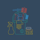 Products for cleaning home, house chores, bucket and glove, linear icon Stock Images