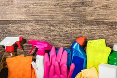 Products and cleaning tools royalty free stock photography