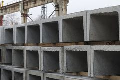 Products from concrete for a drainage Stock Photos