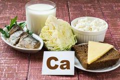 Products containing calcium Stock Photos