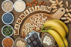 Products containing magnesium. Bananas, pumpkin seeds, blue poppy seed, cashew nuts, beans, almonds, sunflower seeds, oatmeal, buckwheat, peanuts, pistachios Royalty Free Stock Photos