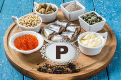 Products containing phosphorus (P) Stock Photography