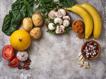 Products containing potassium. Healthy food concept. Space for text, top view stock photo