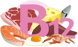 Products containing vitamin B12. The products containing vitamin B12 Royalty Free Stock Image