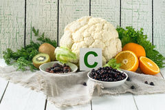 Products containing Vitamin C Stock Photos
