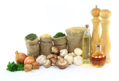 Products for Cooking mushrooms on rice. Stock Image