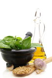 Products for cooking pesto. Stock Images