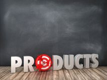 PRODUCTS 3D Word with Target on Chalkboard Background. High Quality 3D Rendering stock illustration