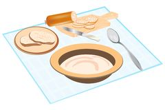 Products feeding on tablecloths Stock Image