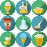 Daily products flat colored icons collection Stock Images
