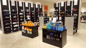Products For Beauty And Body Care. Perfumes. Shop Shelves Stock Photo