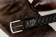 Products from a genuine leather, shoes, jacket, belt Royalty Free Stock Photography