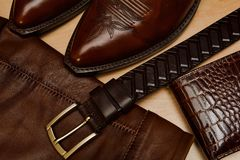 Products from a genuine leather, shoes, jacket, belt Stock Images