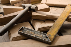 Products and harvesting of wood lying on the workbench Stock Images