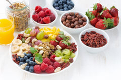 Products for a healthy breakfast - berries, fruit and cereal Royalty Free Stock Photos