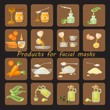 Products for homemade facial mask Royalty Free Stock Images