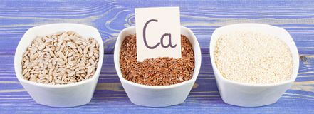 Products and ingredients containing calcium and dietary fiber, healthy nutrition. Ingredients or products containing calcium and dietary fiber, natural sources Stock Photos
