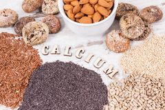 Products and ingredients containing calcium and dietary fiber, healthy nutrition. Ingredients or products containing calcium and dietary fiber, natural sources stock image