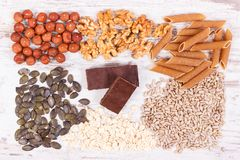 Products and ingredients containing copper and dietary fiber, healthy nutrition. Products or ingredients containing copper and dietary fiber, natural sources of Royalty Free Stock Photo