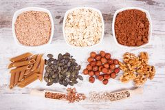 Products and ingredients containing copper and dietary fiber, healthy nutrition. Products or ingredients containing copper and dietary fiber, natural sources of Stock Photo