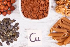Products and ingredients containing copper and dietary fiber, healthy nutrition. Products or ingredients containing copper and dietary fiber, natural sources of royalty free stock images