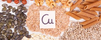 Products and ingredients containing copper and dietary fiber, healthy nutrition Stock Image