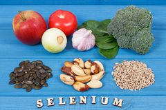 Products and ingredients containing selenium and dietary fiber, healthy nutrition. Ingredients or products containing selenium and dietary fiber, natural sources Royalty Free Stock Images