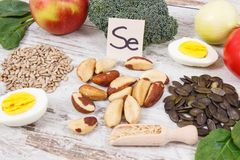 Products and ingredients containing selenium, minerals and dietary fiber, healthy nutrition concept. Natural products and ingredients containing selenium Stock Images