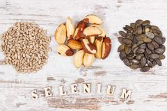 Products and ingredients containing selenium, minerals and dietary fiber, healthy nutrition concept stock image