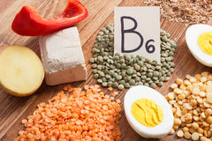 Products or ingredients containing vitamin B6 and dietary fiber, concept of healthy nutrition Stock Photos