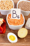 Products or ingredients containing vitamin B6 and dietary fiber, concept of healthy nutrition Stock Image