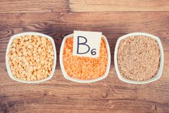Products and ingredients containing vitamin B6 and dietary fiber, healthy nutrition concept. Ingredients or products containing vitamin B6 and dietary fiber Royalty Free Stock Photos