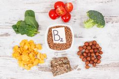 Products and ingredients containing vitamin B2 and dietary fiber, healthy nutrition concept. Ingredients or products containing vitamin B2 and dietary fiber royalty free stock images