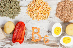 Products and ingredients containing vitamin B6 and dietary fiber, healthy nutrition Stock Images