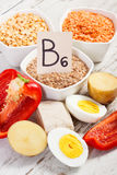 Products and ingredients containing vitamin B6 and dietary fiber, healthy nutrition Stock Photo