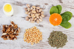 Products and ingredients containing vitamin B1 and dietary fiber, healthy nutrition Stock Photo