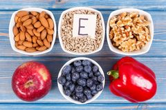 Products, ingredients containing vitamin E and dietary fiber, healthy nutrition concept. Products, ingredients containing vitamin E and dietary fiber, natural stock image
