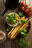 Products of italian or greek cuisine. Mediterranean food. Top vi Stock Image