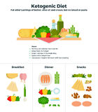 Products of ketogenic diet. Ketogenic diet vector flat illustrations. Products for ketogenic diet, recomendations for healthy nutrition. Products classified for stock illustration