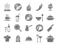 Cooking, icon, grey, shading with pencil, vector. Products and kitchen utensils. Hatching with a gray pencil on a white field. Imitation. Vector clip art Stock Photos