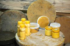 Products of livelihoods of bees. Beeswax, honeycomb, honey, pollen, propolis. Products of beekeeping. Beekeeping. Products of livelihoods of bees. Beeswax Stock Image