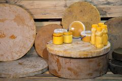 Products of livelihoods of bees. Beeswax, honeycomb, honey, pollen, propolis. Products of beekeeping. Beekeeping. Products of livelihoods of bees. Beeswax Stock Photography
