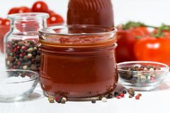 Products made with fresh tomato - sauce, juice and seasonings. Closeup horizontal stock photography