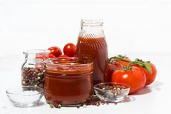 Products made with fresh tomato - sauce, juice and seasonings Stock Image