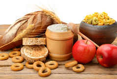 Products made of wheat on table Stock Photos