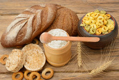 Products made of wheat. On wooden table Stock Photo