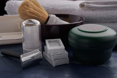 Products for male shaving vintage. Facilities for male shaving vintage close-up Stock Images