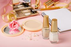 Products for manicure or nail art and other cosmetics. stock images