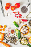 Products  for Middle East , Caucasian and Asian cuisine on the white table vertical Stock Photography