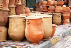 Products of the Moroccan potter's factories. Teapot, tadjin, vase and other products of the Moroccan potter's factories Stock Photos